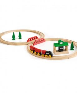 Железная дорога с вокзалом из 22 элементов BRIO (БРИО)
